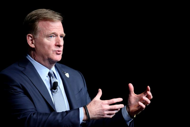 LAS VEGAS, NEVADA - JANUARY 17: NFL Commissioner Roger Goodell speaks during a fireside chat at the Preview Las Vegas business forecasting event at Wynn Las Vegas on January 17, 2020 in Las Vegas, Nevada. The Oakland Raiders will relocate to Las Vegas at the new Allegiant Stadium starting in the 2020 NFL season. (Photo by Isaac Brekken/Getty Images)