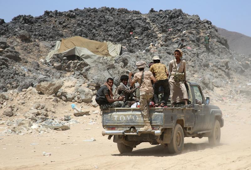 Armed Yemeni tribesmen from the Popular Resistance Committees supporting forces loyal to President Abedrabbo Mansour Hadi, whose government is know internationally recognised (AFP Photo/Abdullah Hassan)