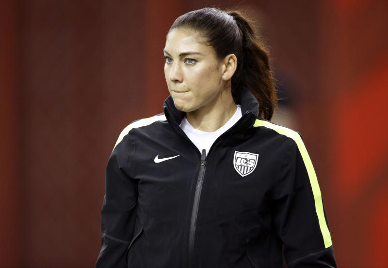 Jun 29, 2015; Montreal, Quebec, CAN; United States goalkeeper Hope Solo walks onto the field for a training session for the Women's World Cup at Olympic Stadium. Mandatory Credit: Michael Chow-USA TODAY Sports