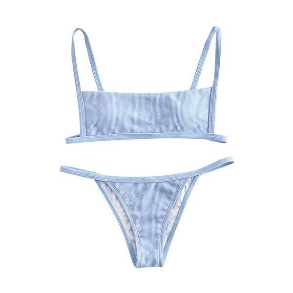 """Fun fact: You can wear this as a bikini or a makeshift one-piece. Just look at the review images to see how to get the look! $16, Amazon. <a href=""""https://www.amazon.com/Womens-Ribbed-Square-Padded-Swimsuit/dp/B07LBRT5KH/"""" rel=""""nofollow noopener"""" target=""""_blank"""" data-ylk=""""slk:Get it now!"""" class=""""link rapid-noclick-resp"""">Get it now!</a>"""