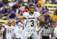 Central Michigan quarterback Jacob Sirmon (3) throws a pass against LSU during the first quarter of an NCAA college football game in Baton Rouge, La,. Saturday, Sept. 18, 2021. (AP Photo/Derick Hingle)