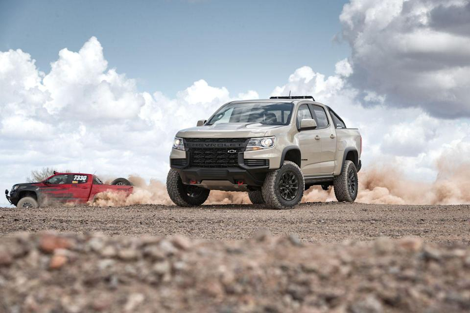 "<p>The mid-size <a href=""https://www.caranddriver.com/chevrolet/colorado"" rel=""nofollow noopener"" target=""_blank"" data-ylk=""slk:2021 Chevy Colorado pickup"" class=""link rapid-noclick-resp"">2021 Chevy Colorado pickup</a> and its corporate sibling, the <a href=""https://www.caranddriver.com/gmc/canyon"" rel=""nofollow noopener"" target=""_blank"" data-ylk=""slk:GMC Canyon"" class=""link rapid-noclick-resp"">GMC Canyon</a>, provide everyday practicality and broad capabilities, with considerable towing and payload ratings. Plus, they are much easier to maneuver than their full-size offspring. The Colorado boasts three different engines, including a surprisingly quick V-6 and a stump-pulling diesel four-cylinder. While the interior is overrun with cheap plastics, and even the biggest cab size has a small back seat, the truck maintains a pleasant driving position and athletic handling. <a href=""https://www.caranddriver.com/chevrolet"" rel=""nofollow noopener"" target=""_blank"" data-ylk=""slk:Chevy"" class=""link rapid-noclick-resp"">Chevy</a> ensures every model has a modern infotainment system, but it leaves many contemporary driver-assistance features off the roster. The 2021 Colorado has a good enough resume to suit many pickup shoppers, but it lacks the qualifications to interest a wider audience.</p><p><a class=""link rapid-noclick-resp"" href=""https://www.caranddriver.com/chevrolet/colorado"" rel=""nofollow noopener"" target=""_blank"" data-ylk=""slk:Review, Pricing, and Specs"">Review, Pricing, and Specs</a></p>"