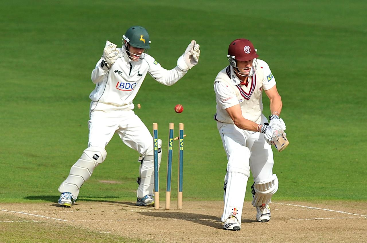 Somerset's Nick Compton is bowled for 87 by Nottinghamshire's Samit Patel during the LV= County Championship, Division One match at Trent Bridge, Nottingham.