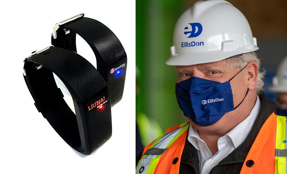 TraceSCAN bands made by Facedrive are shown in a split-screen image with Ontario Premier Doug Ford. (Business Wire/The Canadian Press)