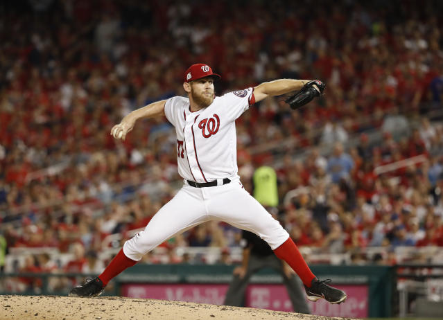 Washington Nationals pitcher Stephen Strasburg throws against the Chicago Cubs in the seventh inning of Game 1 of baseball's National League Division Series, at Nationals Park, Friday, Oct. 6, 2017, in Washington. Chicago won 3-0. (AP Photo)