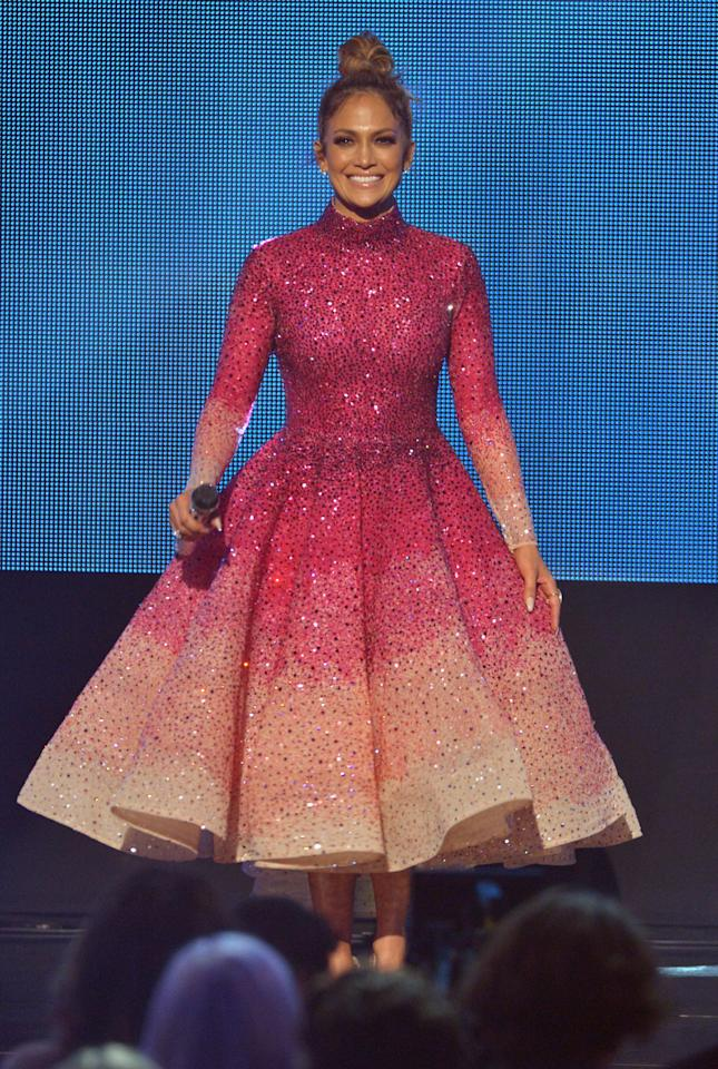 <p>J.Lo looked like a delicious sparkly cupcake in this structural Michael Cinco dress.</p><p><i>Photo: Getty</i></p>