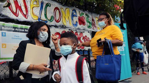 PHOTO: Elementary school students are welcomed back to P.S. 188 as the city's public schools open for in-person learning, Sept. 29, 2020, in New York. (Spencer Platt/Getty Images)