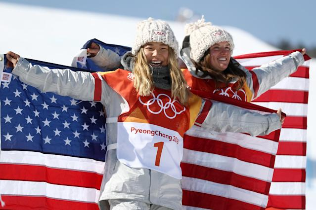 <p>(L-R) Gold medalist Chloe Kim of the United States and bronze medalist Arielle Gold of the United States pose during the victory ceremony for the Snowboard Ladies' Halfpipe Final on day four of the PyeongChang 2018 Winter Olympic Games at Phoenix Snow Park on February 13, 2018 in Pyeongchang-gun, South Korea. (Photo by Clive Rose/Getty Images) </p>