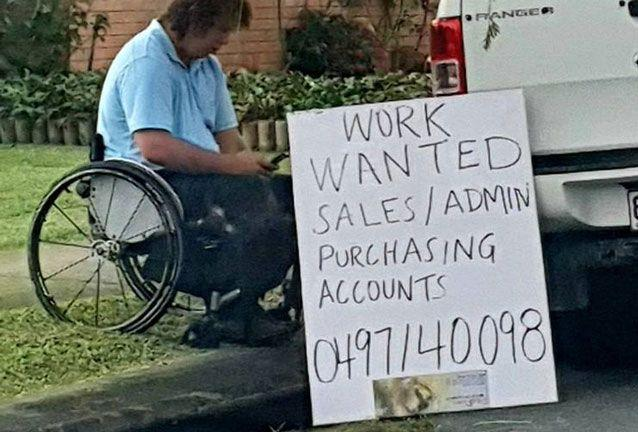 This man was snapped on a roadside in Mackay appealing for work. Source: Facebook/ Jobs in Mackay