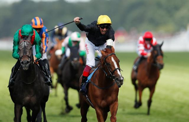 Horse Racing - Royal Ascot - Ascot Racecourse, Ascot, Britain - June 21, 2018 Frankie Dettori celebrates on Stradivarius as they win the 4.20 Gold Cup Action Images via Reuters/Andrew Boyers