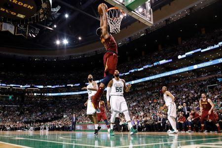 May 15, 2018; Boston, MA, USA; Cleveland Cavaliers center Tristan Thompson (13) dunks against the Boston Celtics during the second quarter of game two of the Eastern conference finals of the 2018 NBA Playoffs at TD Garden. Mandatory Credit: Greg M. Cooper-USA TODAY Sports