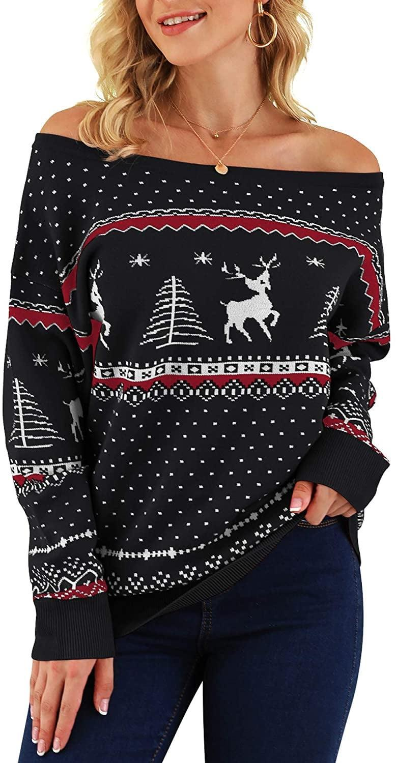 <p>Notice the cute reindeer and tree on this <span>Off-the-Shoulder Knit Sweater</span> ($26).</p>
