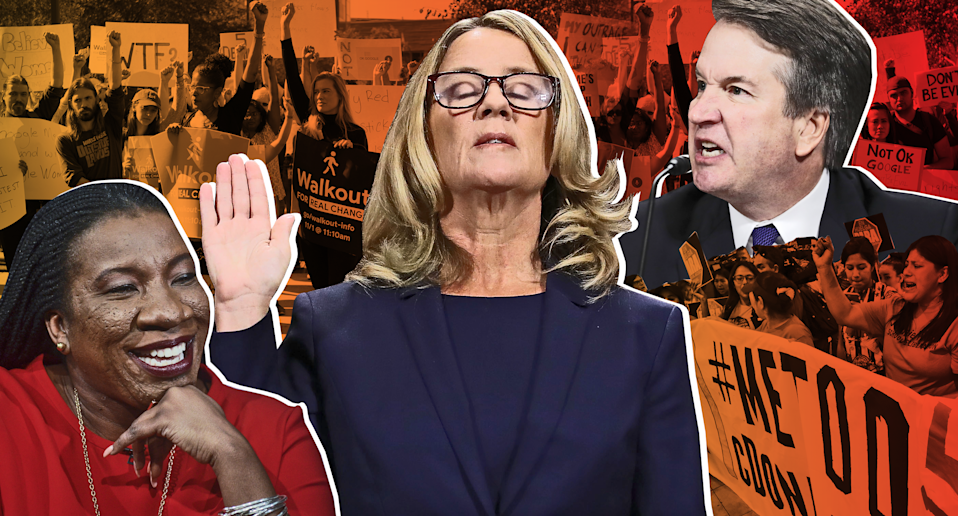 The swirl of current events related to sexual assault — clockwise from bottom left, #MeToo founder Tarana Burke, a Google walkout, Christine Blasey Ford's testimony at the Brett Kavanaugh hearings, and a McDonald's walkout — could lead to some painful conversations during holiday gatherings. (Photo: Getty Images/Quinn Lemmers for Yahoo Lifestyle)