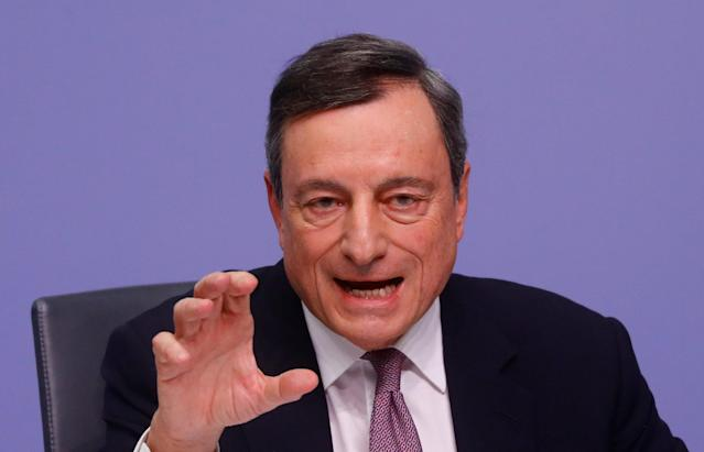 European Central Bank (ECB) President Mario Draghi holds a news conference following the governing council's interest rate decision at the ECB headquarters in Frankfurt, Germany, January 25, 2018. REUTERS/Kai Pfaffenbach