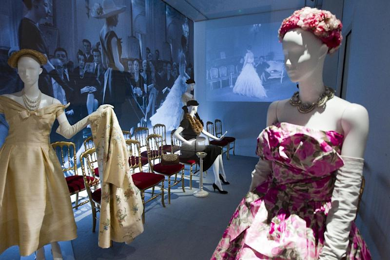 Mannequins in Christian Dior designs are seen at an exhibition at the childhood home of the designer in Granville, Normandy, France, Thursday, May 10, 2012. Going back to where it all began, a new exhibit in the childhood home of legendary designer Christian Dior in Normandy sheds new light on the house's huge contribution to the silver screen.The setting also provides rare insight into how a young Dior - a mama's boy who liked to spend time in the garden - became inspired by the Granville landscape and decided to dedicate his life to fashion. (AP Photo/Jacques Brinon)