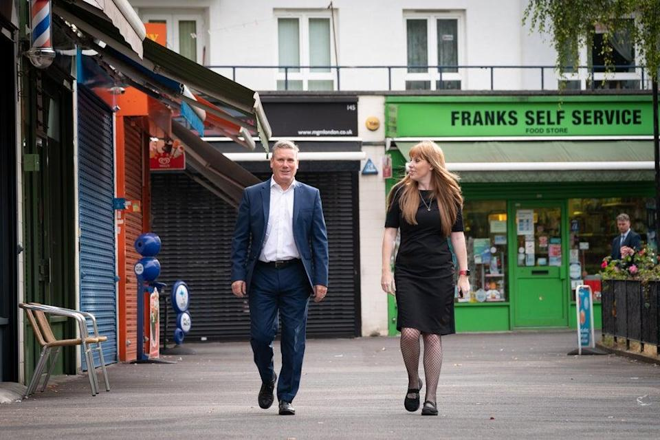 Labour leader Sir Keir Starmer and deputy leader Angela Rayner in Bermondsey, south-east London (Stefan Rousseau/PA) (PA Wire)