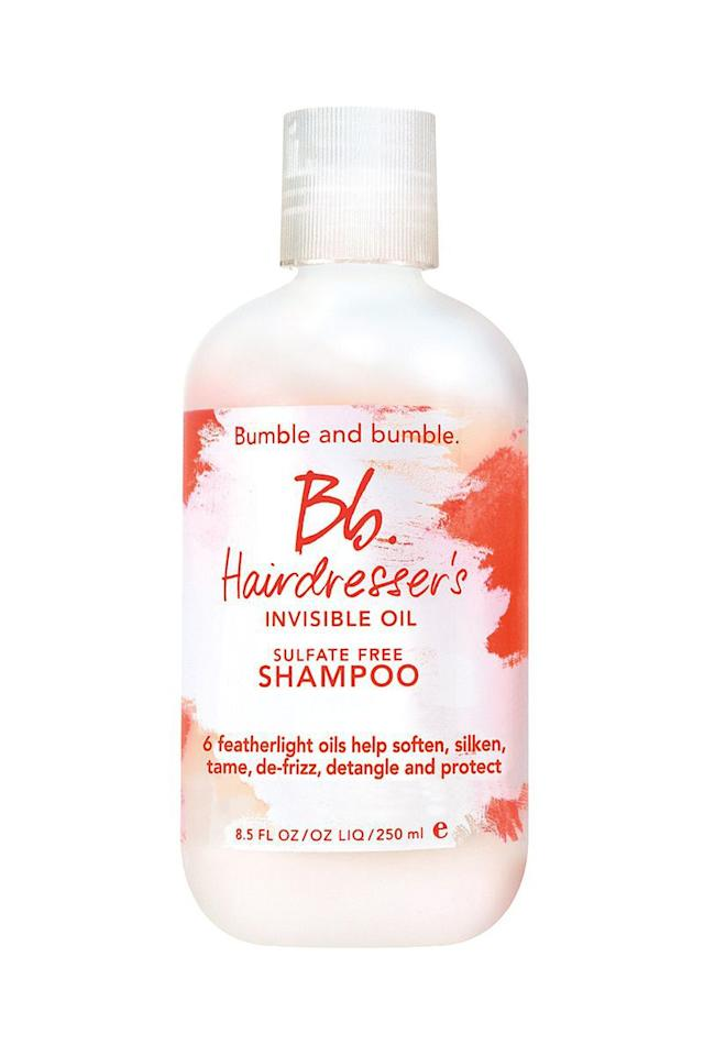 """<p><em>Bumble and Bumble Hairdresser's Invisible Oil Shampoo, $31</em></p><p><a rel=""""nofollow"""" href=""""https://www.sephora.com/product/hairdresser-s-invisible-oil-shampoo-P386463?"""">SHOP IT</a></p><p>Don't let the idea of layering extra oil on your greasy roots stop you from trying this best-selling shampoo. Even though it's sulfate free, the formula has serious sudsing powers that break down product buildup and scalp oils without stripping your hair. </p>"""