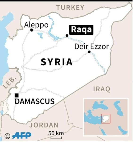 Map of Syria locating Raqa
