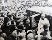Mohandas Karamchand Gandhi (1869 – 1948), attends the Round Table Conference in London, 1931. Gandhi was the preeminent leader of the Indian independence movement in British-ruled India. Employing nonviolent civil disobedience, Gandhi led India to independence and inspired movements for civil rights and freedom across the world. (Photo by: Universal History Archive/Universal Images Group via Getty Images)