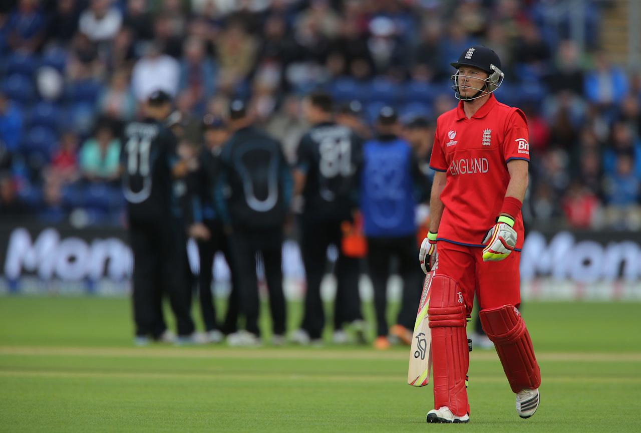 England batsman Ian Bell shows his dejection after he was out against New Zealand, at the SWALEC Stadium, Cardiff.