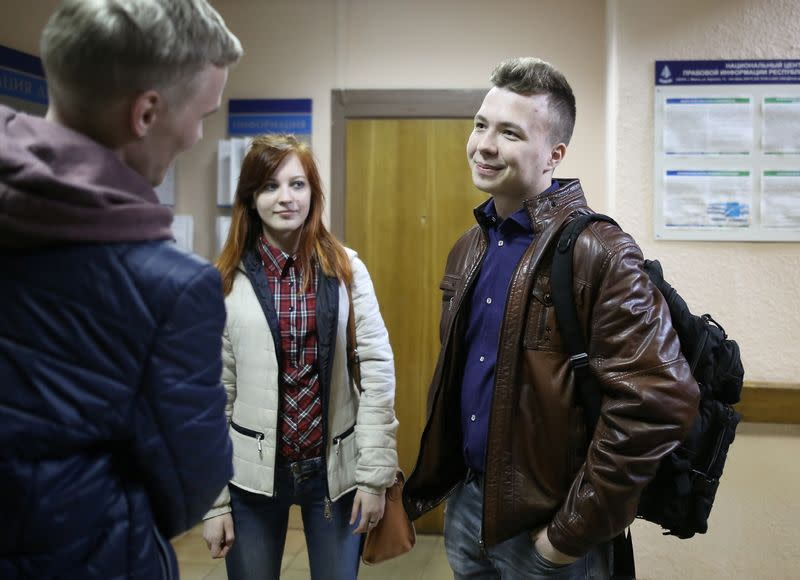 Opposition blogger and activist Roman Protasevich arrives for a court hearing in Minsk