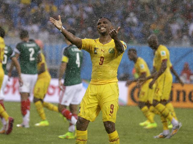 Cameroon's Samuel Eto'o gestures during the group A World Cup soccer match between Mexico and Cameroon in the Arena das Dunas in Natal, Brazil, Friday, June 13, 2014. (AP Photo/Ricardo Mazalan)