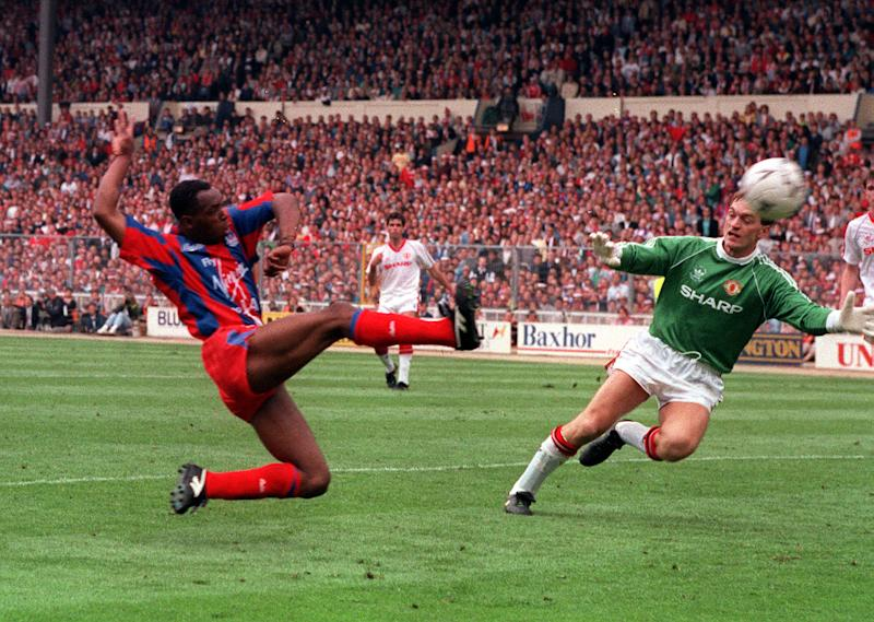 Crystal Palace's Ian Wright scores his second goal after coming on as a substitute against Manchester United in the 1990 FA Cup Final. (Photo by PA Images via Getty Images)
