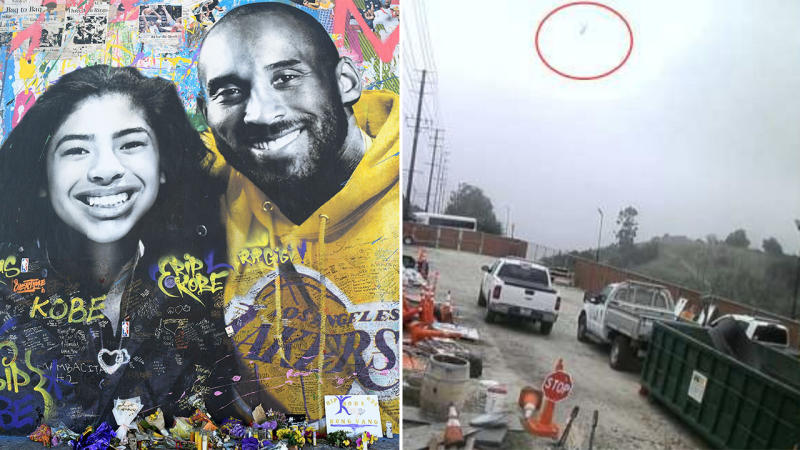 A memorial of Kobe Bryant and his daughter Gianna (pictured left) and a still frame from a security camera of the helicopter (pictured right) the pair were in before it crashed. (Images: Getty Images/National Transportation Safety Board)