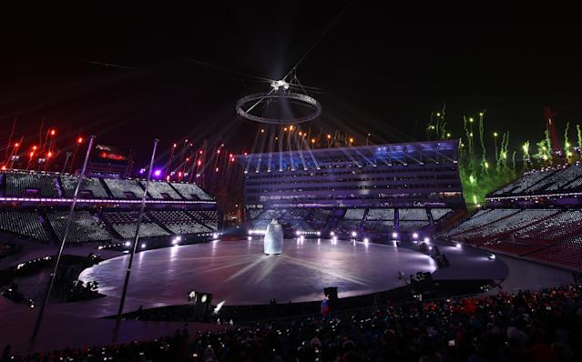<p>Pyeongchang Stadium is lit up during the opening ceremony of the Pyeongchang 2018 Winter Olympic Games on February 9, 2018. REUTERS/Carlos Barria </p>