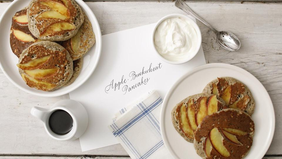 """<p>Just ¼ cup of buckwheat flour adds a nutty quality to this buttermilk pancake recipe. Before flipping the pancakes, thinly sliced apples are added to the top of each. <a href=""""https://www.marthastewart.com/1515527/apple-buckwheat-pancakes"""" rel=""""nofollow noopener"""" target=""""_blank"""" data-ylk=""""slk:View recipe"""" class=""""link rapid-noclick-resp""""> View recipe </a></p>"""