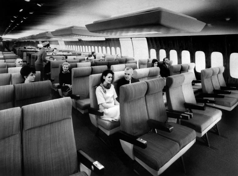 Model of an Air France Boeing 747 Jumbo Jet interior with passengers in September, 1966