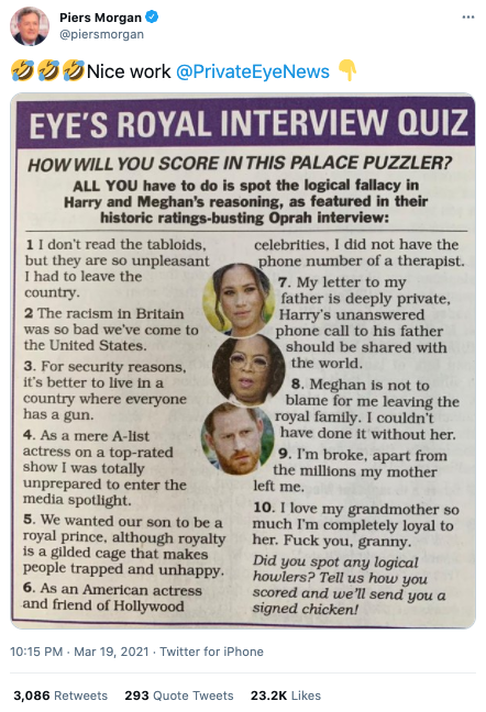 Screenshot of UK paper Private Eye's 'quiz' that pointed out the supposed