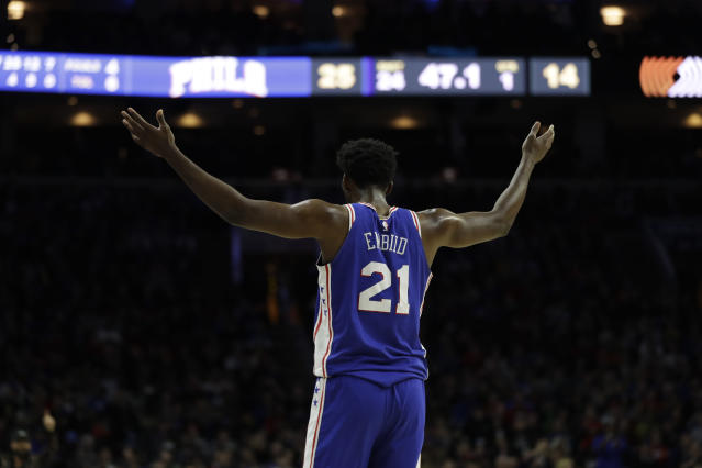 "Until an opposing player hands <a class=""link rapid-noclick-resp"" href=""/nba/players/5294/"" data-ylk=""slk:Joel Embiid"">Joel Embiid</a> his lunch, it'll be difficult to make a case against him. (AP Photo/Matt Slocum)"