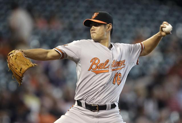 CORRECTS TO CHEN NOT CHIN - Baltimore Orioles pitcher Wei-Yin Chen throws during the first inning of a baseball game against the Houston Astros, Sunday, June 1, 2014, in Houston. (AP Photo/Patric Schneider)