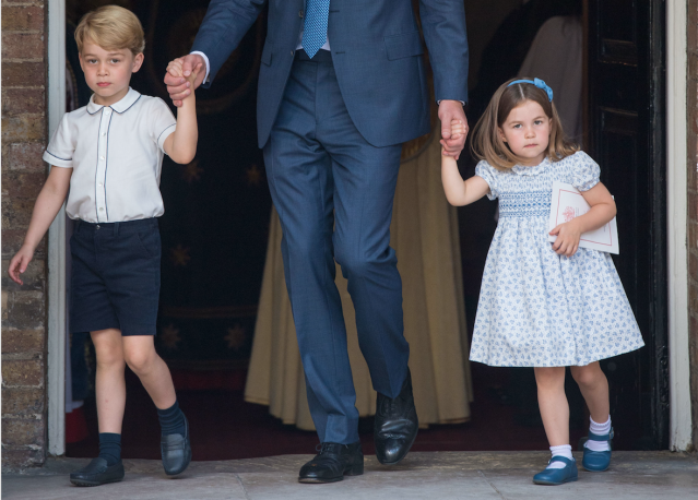 Prince George and Princess Charlotte leave the Chapel Royal, where their brother was christened. (Photo: Getty Images)