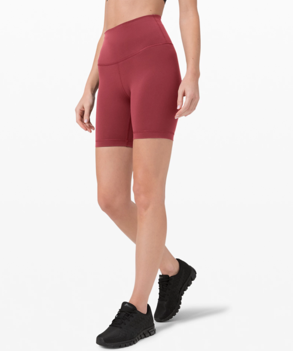 """<p><strong>Lululemon</strong></p><p>lululemon.com</p><p><a href=""""https://go.redirectingat.com?id=74968X1596630&url=https%3A%2F%2Fshop.lululemon.com%2Fp%2Fwomen-shorts%2FWunder-Train-HR-Short-6-MD%2F_%2Fprod9890085&sref=https%3A%2F%2Fwww.marieclaire.com%2Ffashion%2Fg33262976%2Flululemon-warehouse-sale-july-2020%2F"""" rel=""""nofollow noopener"""" target=""""_blank"""" data-ylk=""""slk:SHOP IT"""" class=""""link rapid-noclick-resp"""">SHOP IT </a></p><p><del>$58</del><strong><br></strong><strong>$39</strong></p><p>The biker short trend isn't leaving anytime soon, so you might as well stock up on a few new pairs. Lululemon's Wunder Train shorts have a high-rise fit, so you won't have to worry about them riding down mid-workout.<br></p>"""