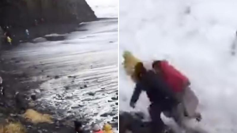 Stills from the video taken by the tour guide, the photos show tourists on the beaches shore and running from the water as the waves roll in