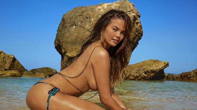 <p>Chrissy Teigen was photographed by James Macari in Sumba Island. Swimsuit by La Vida Aloha.</p>