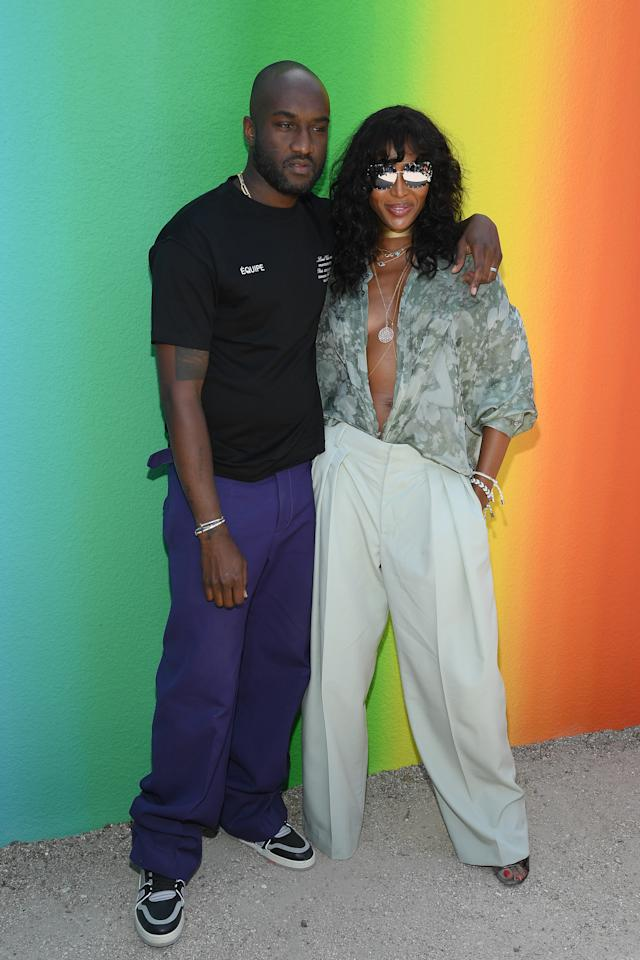 <p>Original super, Naomi Campbell, sat FROW at Virgil Abloh's debut show in seriously low-cut blouse and tailored trousers. [Photo: Getty] </p>