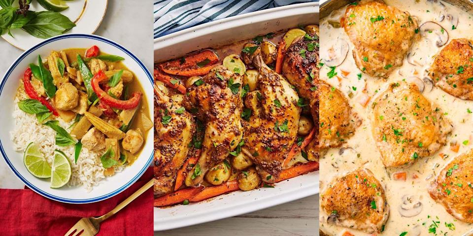 """<p>If you're looking for an easy AF, delicious and quick <a href=""""https://www.delish.com/uk/easy-dinner-ideas/"""" rel=""""nofollow noopener"""" target=""""_blank"""" data-ylk=""""slk:dinner"""" class=""""link rapid-noclick-resp"""">dinner</a> - chicken is where it's at. Perfect for a stress-free weeknight meal, there's just so much you can do with chicken. Whether that's whipping up a <a href=""""https://www.delish.com/uk/cooking/recipes/a30146742/chicken-sweet-potato-curry/"""" rel=""""nofollow noopener"""" target=""""_blank"""" data-ylk=""""slk:Chicken and Sweet Potato Curry"""" class=""""link rapid-noclick-resp"""">Chicken and Sweet Potato Curry</a>, or knocking together some <a href=""""https://www.delish.com/uk/cooking/recipes/a31656829/cheesy-baked-tacos-recipe/"""" rel=""""nofollow noopener"""" target=""""_blank"""" data-ylk=""""slk:Cheesy Chicken Tacos"""" class=""""link rapid-noclick-resp"""">Cheesy Chicken Tacos</a>, the options are endless. You can even make just enough for <a href=""""https://www.delish.com/uk/cooking/recipes/g29890570/healthy-lunch-ideas/"""" rel=""""nofollow noopener"""" target=""""_blank"""" data-ylk=""""slk:lunch"""" class=""""link rapid-noclick-resp"""">lunch</a> the following day. Or even try your hand at some <a href=""""https://www.delish.com/uk/cooking/recipes/g31665635/batch-cooking-recipes/"""" rel=""""nofollow noopener"""" target=""""_blank"""" data-ylk=""""slk:batch-cooking"""" class=""""link rapid-noclick-resp"""">batch-cooking</a>. Either way, you'll never get bored of chicken. </p>"""