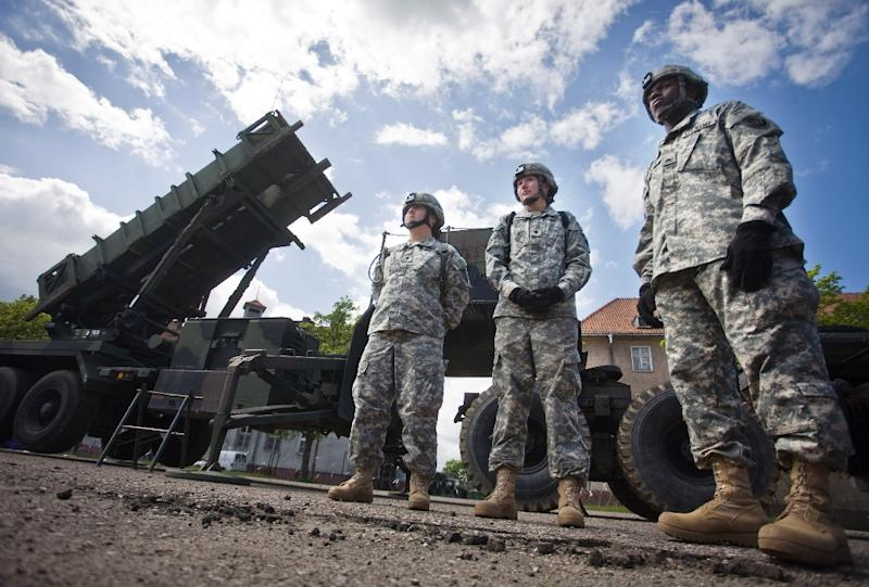 US soldiers are pictured in May 2010 in front of a Patriot missile battery at an army base in the northern Polish town of Morag (AFP Photo/Wojtek Radwanski)