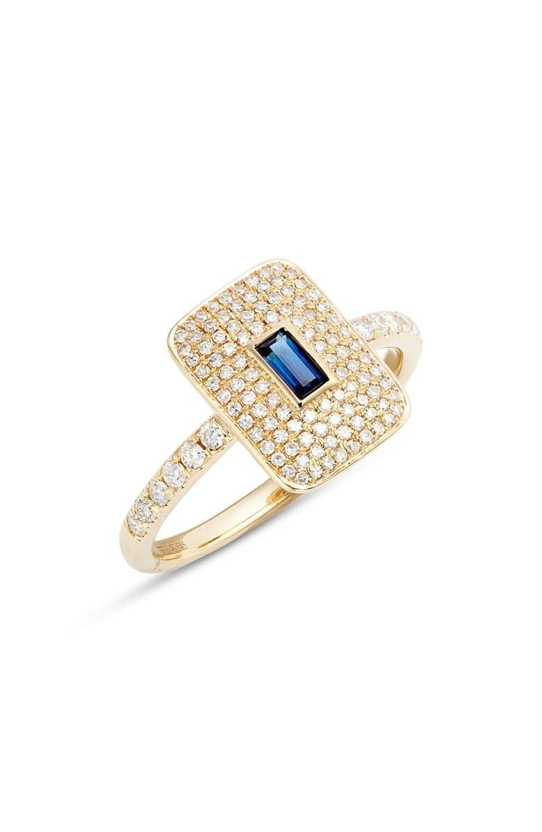 """<p>This <a href=""""https://www.popsugar.com/buy/EF-Collection-Blue-Sapphire-Pav%C3%A9-Diamond-Ring-531808?p_name=EF%20Collection%20Blue%20Sapphire%20and%20Pav%C3%A9%20Diamond%20Ring&retailer=shop.nordstrom.com&pid=531808&price=1%2C550&evar1=fab%3Aus&evar9=7954958&evar98=https%3A%2F%2Fwww.popsugar.com%2Fphoto-gallery%2F7954958%2Fimage%2F47032834%2FEF-Collection-Blue-Sapphire-Pav%C3%A9-Diamond-Ring&list1=shopping%2Cwedding%2Cjewelry%2Crings%2Cengagement%20rings%2Cfashion%20shopping&prop13=api&pdata=1"""" rel=""""nofollow noopener"""" class=""""link rapid-noclick-resp"""" target=""""_blank"""" data-ylk=""""slk:EF Collection Blue Sapphire and Pavé Diamond Ring"""">EF Collection Blue Sapphire and Pavé Diamond Ring</a> ($1,550) features a small rectangle gem in the middle of tiny diamonds.</p>"""