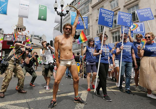<p>A reveler dressed as Amor enjoys the Pride London Parade in London, Saturday, July 8, 2017. (Photo: Frank Augstein/AP) </p>