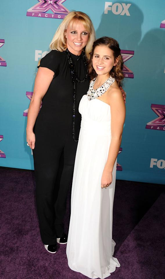 "Britney Spears and X Factor finalist Carly Rose Sonenclar arrive at Fox's ""The X Factor"" Season Finale Night 1 at CBS Televison City at CBS Studios on December 19, 2012 in Los Angeles, California."