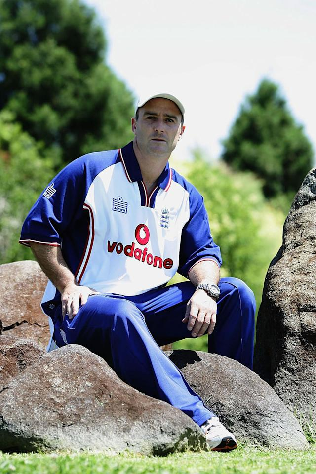 POTCHEFSTROOM, SOUTH AFRICA - DECEMBER 14:  Graham Thorpe of England sits outside the team hotel following a press conference on December 14, 2004 in Potchefstroom, South Africa. (Photo by Paul Gilham/Getty Images)