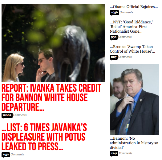 Breitbart News later ran a story saying the White House denied reports that Ivanka Trump was involved with Steve Bannon's removal.