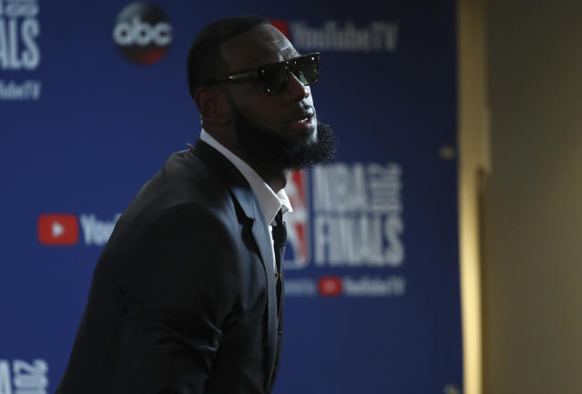 LeBron James appeared to implore his teammates to move on from Game 1's brutal loss on Saturday while acknowledging it was one of the toughest of his career. (AP)