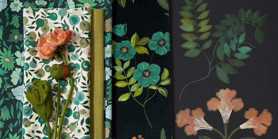 Photo credit: From the left,  'Poppy Meadowfield' cotton in 'Jade', £110 per m; 'Wiltshire Blossom' velvet in 'Jade', £130 per m; 'Lustre' linen in 'Lichen', £90 per m; 'Poppy Meadowfield', as before; 'Botanical Flora' velvet in 'Jade', £130 per m; 'Botanical Stripe' wallpaper in 'Jade', £130 per 10m roll, all Liberty