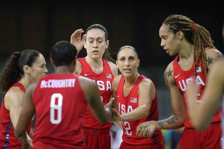 Basketball - Olympics: Day 3 Diana Taurasi #12 of United States with team mates during the USA Vs Spain Women's Basketball Tournament at Youth Arena on August 8, 2016 in Rio de Janeiro, Brazil. (Photo by Tim Clayton/Corbis via Getty Images)