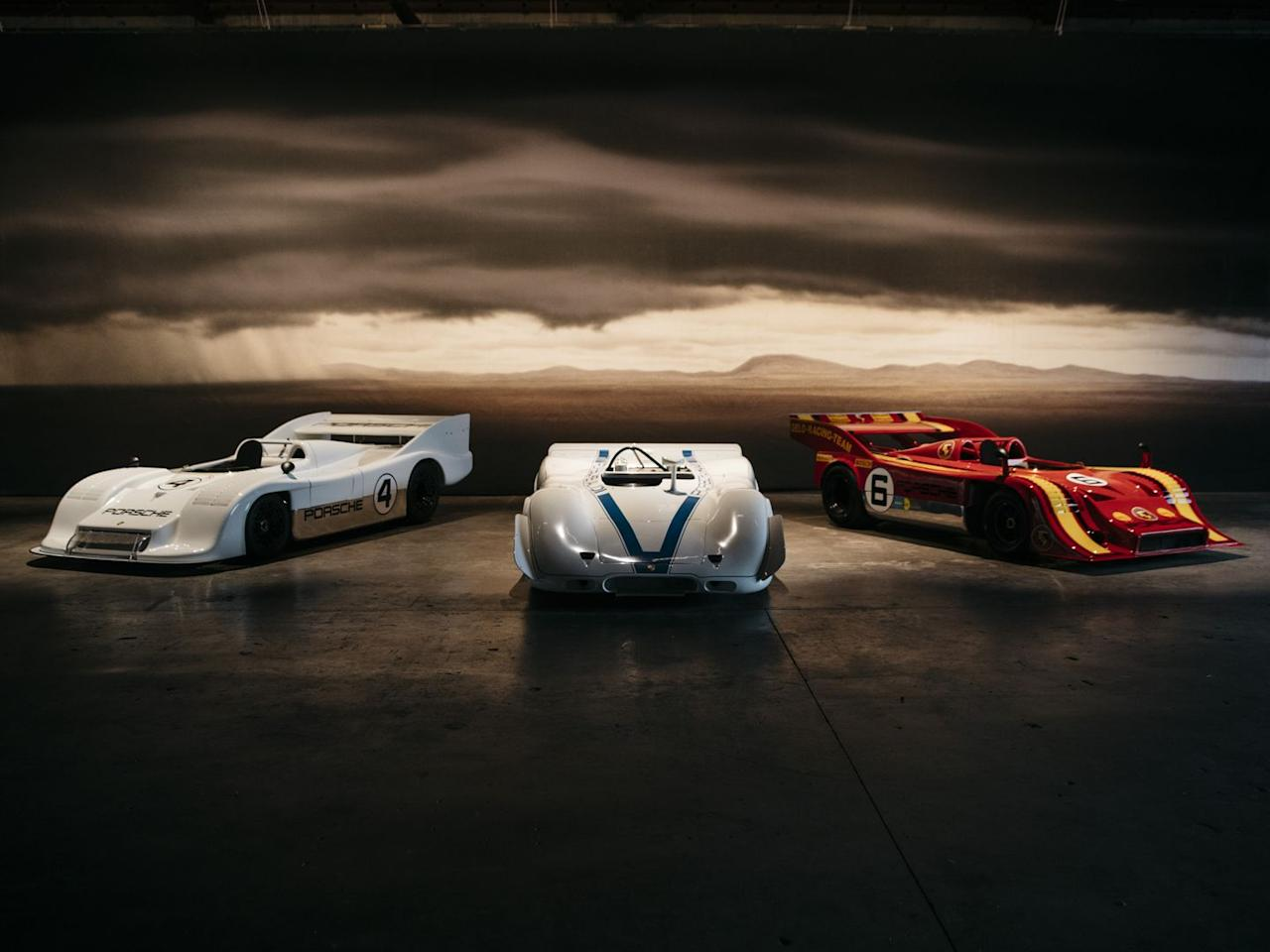 <p>Past Luftgekühlt event have featured some rare and museum cars, artfully displayed indoors. This year, the drama was heightened with low lighting and a moody matte painting behind this (from left to right) 917/30, 917 P/A Can-Am, and 917/10.</p>